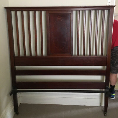 *** Edwardian Mahogany Bed With Rails & Slatted Base - Queen Size ***