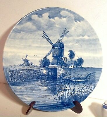Pair of Hollands DELFT Blauw Plates-Hand Painted Dutch Windmill & Sailboat- 👌