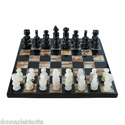 Chessboard Complete Chess white Marble and Onyx Green Marble Chess 35x35cm