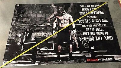 Gym equipment weights banner rogue bar muscle protein bench poster Nike shorts 1