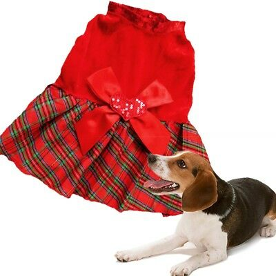 Pet Dog Christmas Dress Puppy Clothes Bow Red Grid Heart Print Skirt Apparel