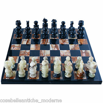 Chessboard Intarsi in Marble Black and Onyx Chess Set Classic Design 35x35cm