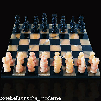Chessboard in Marble Black and Onyx Yellow Chess Set Classic Design 35x35cm
