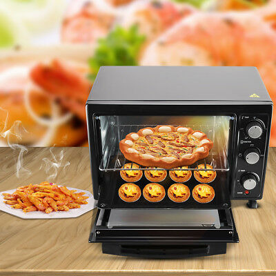 12L Mini Electric Oven Tray Table Top Grill Cooker Baking Convection Black New