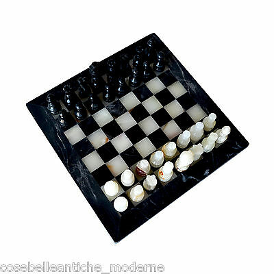 Chessboard Marble Black Onyx White with Chess Chessboard Chess Gift Box 30x30cm