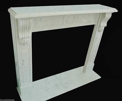 Fireplace White Marble Style Empire Handmade Vintage