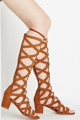 Forever 21 Gladiator Sandals High Camel Low Heels 7.5 Faux Suede Coachella  Inspo 8515333a668c