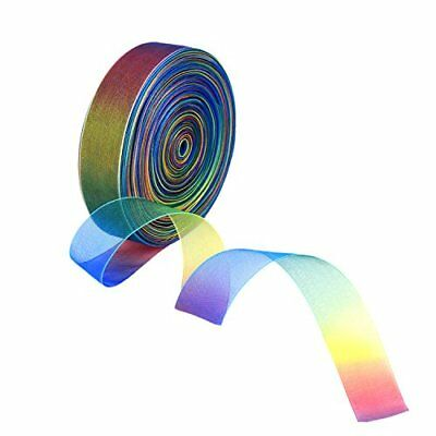 Shappy 50 Yard 1 Inch Shimmer Sheer Organza Ribbon, Rainbow Colors