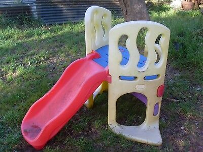 childrens childs kids out door play equipment self standing plastic slide old ??