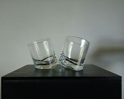 Vintage Pair of Quality Tipping Whisky Glasses