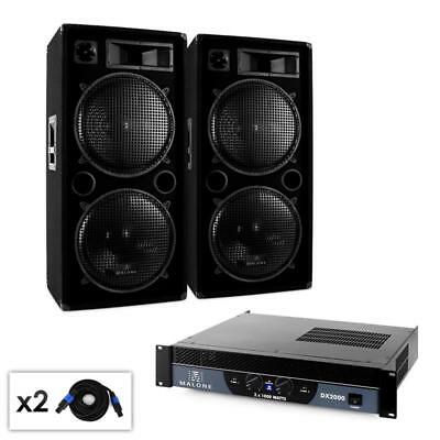 Disco Stage Pa System Karaoke Party Dual Bass Speakers Dj Amplifier Cable Music