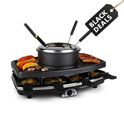 Brand New Raclette Grill 8 Non Stick Pans Fondue Pot Home Family Party Grill