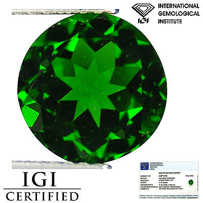 2.72 Ct IGI Certified Natural Chrome Diopside Electric Green Color Round Cut