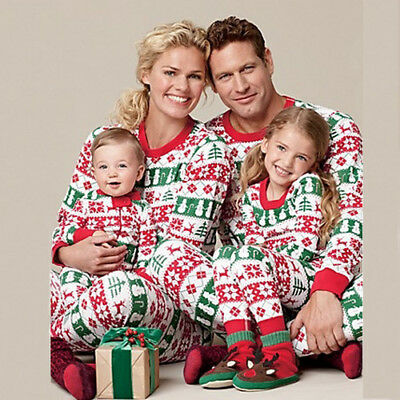 Christmas Striped Pyjamas Matching Family Nightwear Adult Mum/Dad/Baby/Kids