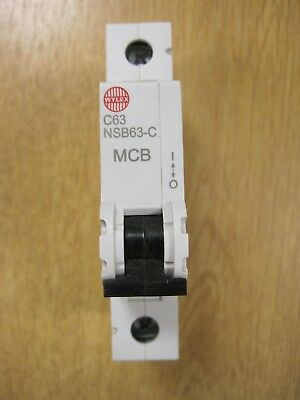 Wylex Nsb63-C ** 63 Amp Single Pole ** C Type Mcb *** Brand New ***