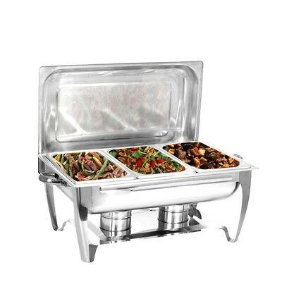 Three 2-1/2 Quart Rectangular Chafing Dish Full Buffet Catering Stainless Steel