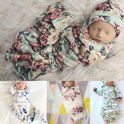 Soft Muslin Baby Floral Swaddling Blanket Newborn Infant Cotton Swaddle Towel AU