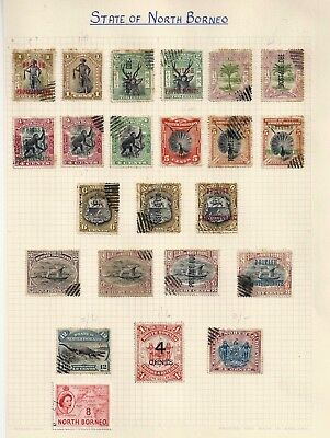 North Borneo With Some Overprints On 1 Album Page