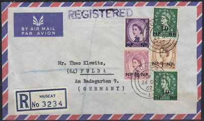 1962 BPAEA Muscat Oman R-Cover to Germany, multi colour franking QEII [bl0260]