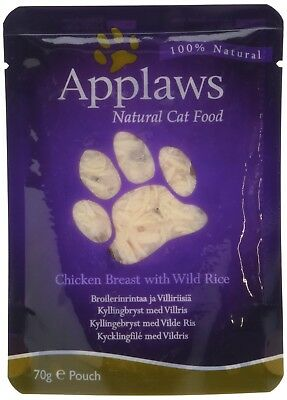 Applaws Cat Food Pouch Chicken and Rice, 70g, Pack of 12