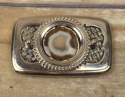 Polished Stone Belt Buckle Lapidary Tan White Silver Country Western Vintage
