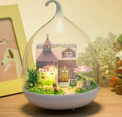 Mini glass DIY Dollhouse miniature with LED light mini house doll house