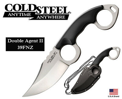 """Cold Steel 4.625"""" Fixed Knife Double Agent II AUS-8A Stainless Sheath 39FNZ"""