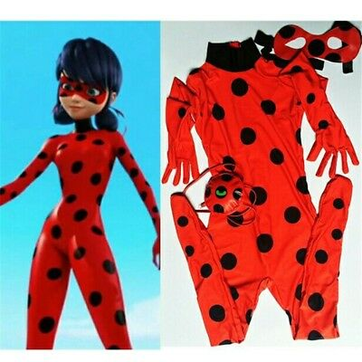 Kid Girls Miraculous Ladybug Fancy Dress Cosplay Costume Mask Bag Jumpsuit Tight