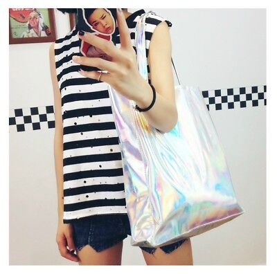NEW Silver HOLOGRAPHIC Gammaray hologram Bling shoulder shopping bag Tote laptop