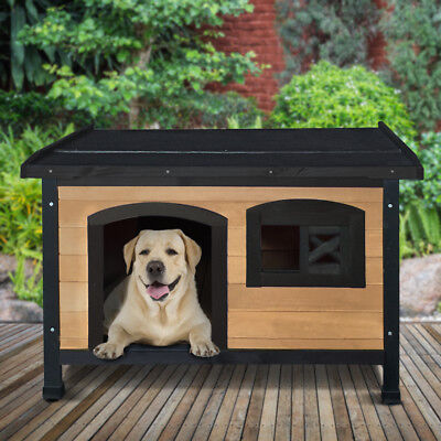 Pet Dog Kennel House Timber Wooden Log Cabin Wood Indoor Outdoor Window Large