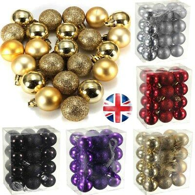 UK STOCK 24pcs Glitter Christmas Baubles Xmas Tree Ornament Ball Christmas Decor