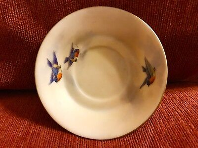 Antique Grainger Royal Worcester England Miniature Bird  Painted Plate Made 1901
