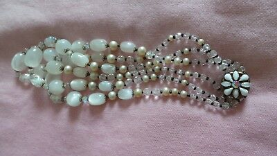 Vintage 3 strand necklace,Moonstone Lucite,various ,various beads