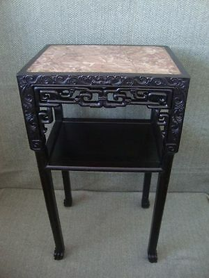 1920´s Chinese Tamarind Side Table With Marble Stone