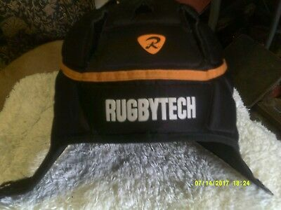 RUGBYTECH Rugby Headguard Scrum Cap Black-IRB APPROVED-MEDIUM