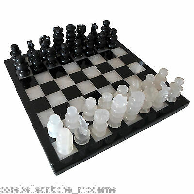 Chessboard in Marble Black Maya and White with Chess