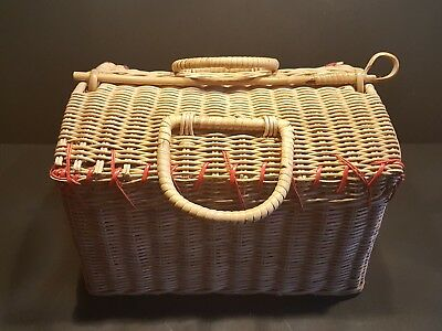 Sweet Vintage Wicker Basket with Lid & pole to secure