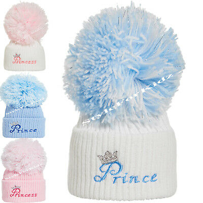 Baby Boys Girls Pompom Knitted Blue Pink Hats Newborn , 3-9 Months Bobble Caps