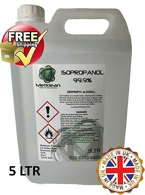IPA 100%|5 LITRE | Lab Grade| Isopropyl Alcohol/Isopropanol (99%)RUBBING ALCOHOL