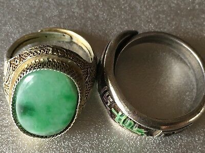Two Beautiful Chinese Sterling Silver Rings One with Jade/ One Enameled
