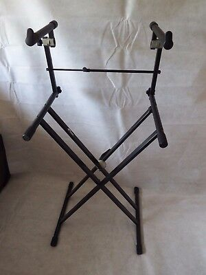 Tiger Double Braced X Frame Keyboard Stand - and extension arms for 2nd keyboard