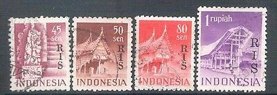 INDONESIA - 1950 Buildings RIS Overprints Fine Used Hinged 4 values