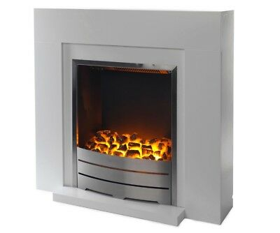 Blyss Beccles White Led Electric Fire Suite Rrp £150 See Pictures