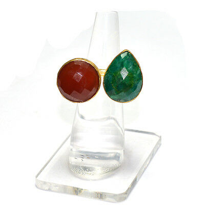 Real Carnelian With Dyed Emerald Gold Plated.925 Silver Ring Us 6(Adjustable)