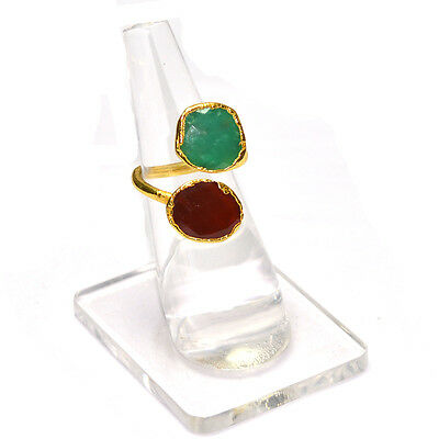 Pretty Green Onyx  With Carnelian Gold Plated.925 Silver Ring Us6 (Adjustable)