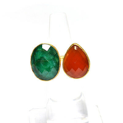 Pretty Carnelian With Dyed Emerald Gold Plated.925 Silver Ring Us 6 (Adjustable)