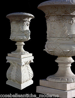 Grande Jar White Marble Furniture External Garden Old DESIGN Marble Vase H.170cm