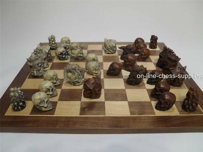 Gothic Skulls Chess Set  Teak and Ivory (Pieces only - no board)
