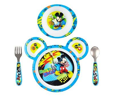 4 Pieces Mickey Mouse Toddler Dish Set Feeding Kids Baby Bowl Plate Fork Spoon