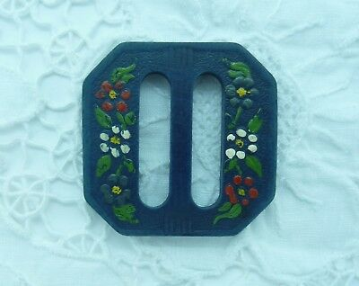 Vintage Blue Wooden Belt Buckle, Slide~Pretty Painted Floral Deco'~